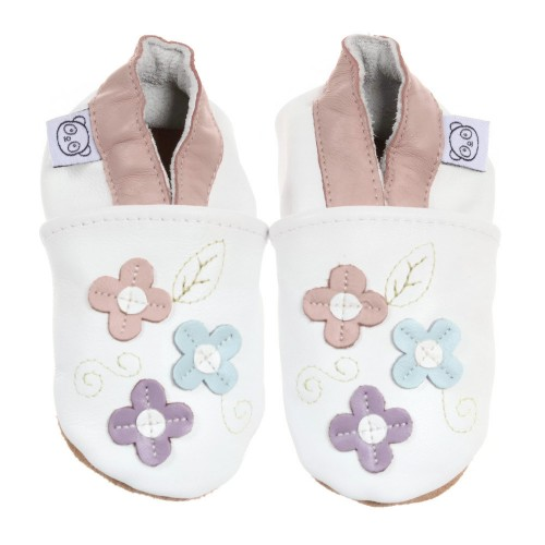 White Shoes With Small Flowers